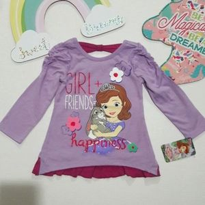 Sofia the First Girls Long Sleeve Top 2T-4T NWT